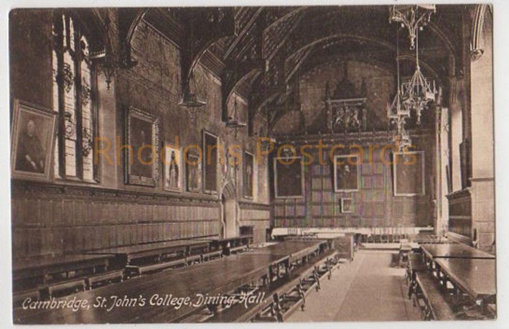 Cambridgeshire. St Johns College Dining Hall, Cambridge. Early 1900s Postcard.