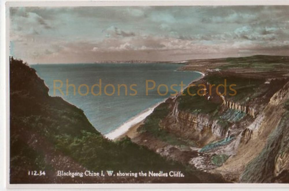 Isle of Wight: Blackgang Chine Showing The Needles Cliffs, Colour Real Photo Postcard - Nigh of Ventnor
