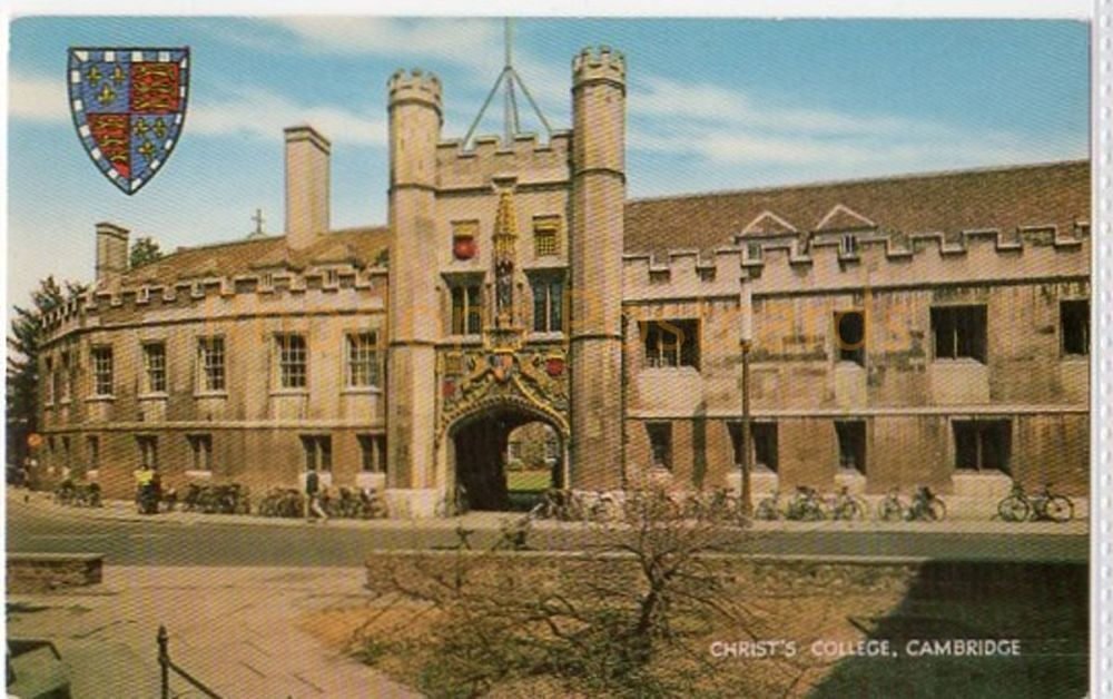 Cambridgeshire: Christs College, Cambridge Postcard.