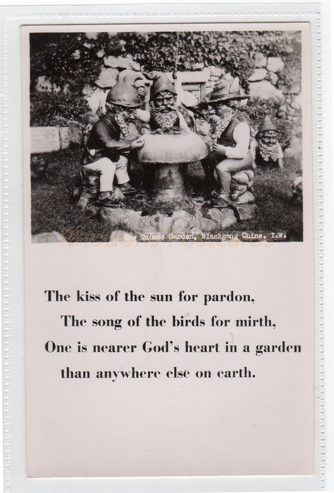 Isle of Wight: The Gnome Garden, Blackgang Chine Real Photo Postcard