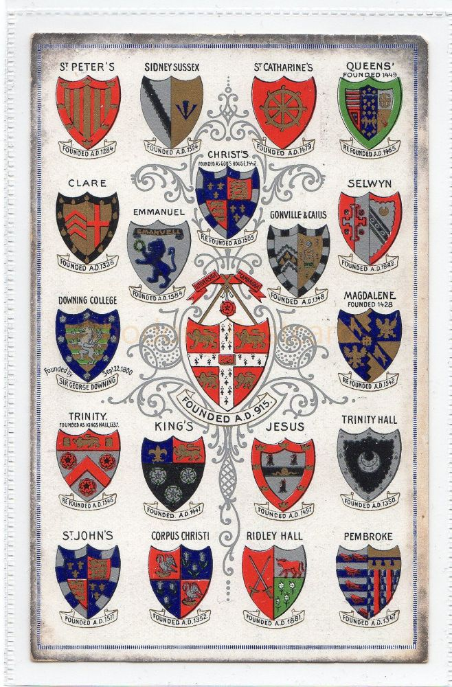 Cambridgeshire: Cambridge University Colleges Coats Of Arms / Crests  Pre 1914 Postcard