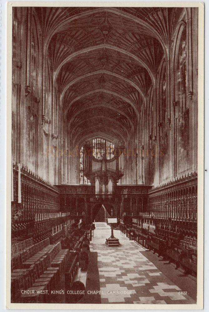 Cambridgeshire: Kings College Chapel, Cambridge, Choir West View Postcard (Valentines)
