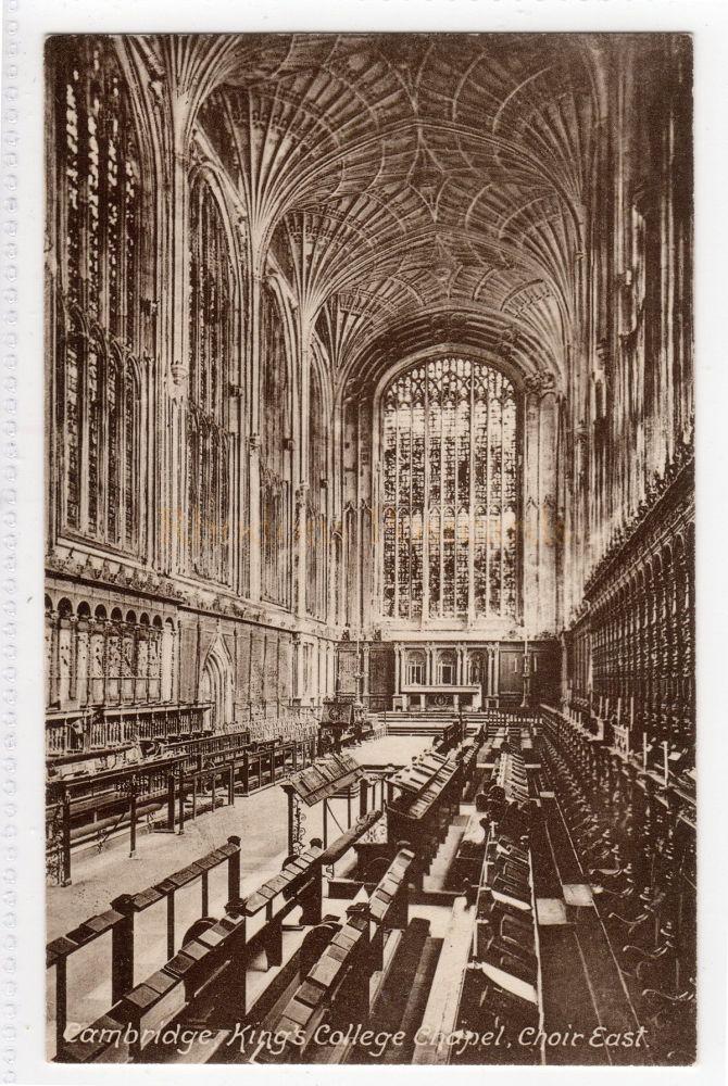 Cambridgeshire:  Kings College Chapel Cambridge. Choir East View Postcard  (Friths # 26509B)