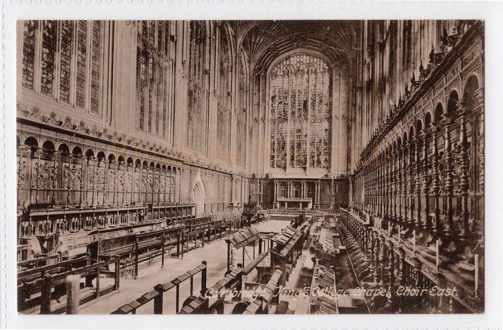 Cambridgeshire:  Kings College Chapel Cambridge. Choir East View Postcard  (Friths # 26509A) (332)
