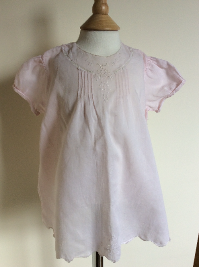 Pink Baby Dress, Handmade Embroidered - Early 1900s