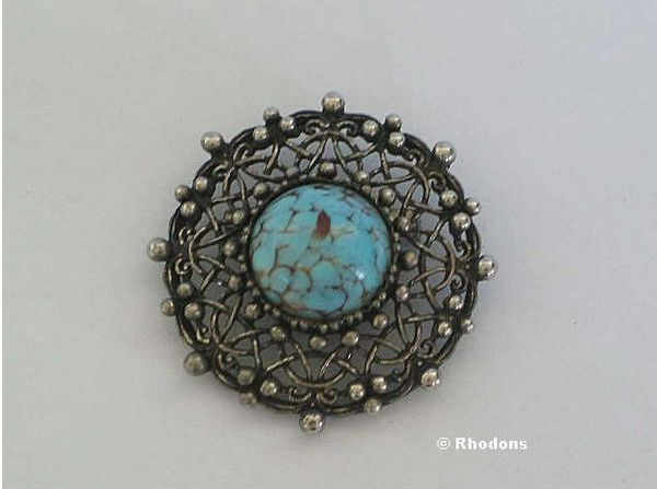Cabochon Pin Brooch - Silvertone & Turquoise