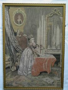 Antique French Woven Tapestry Panel, 18th Century Salon Scene (Lot #1)