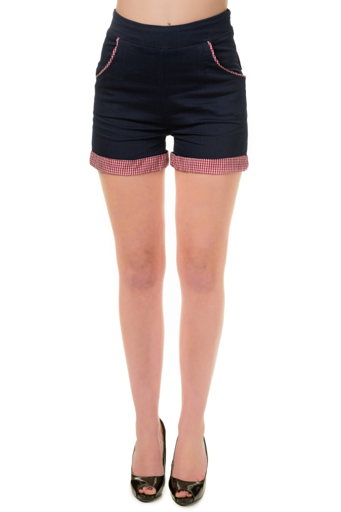 Banned Blueberry Hill High-Waisted Shorts
