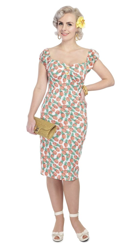 Collectif Dolores Wiggle Dress in Pineapple Print