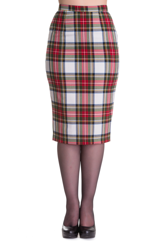 Hell Bunny Jodie Pencil Skirt in Stewart Tartan