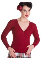 Hell Bunny Piaf Lurex Cardigan in Red