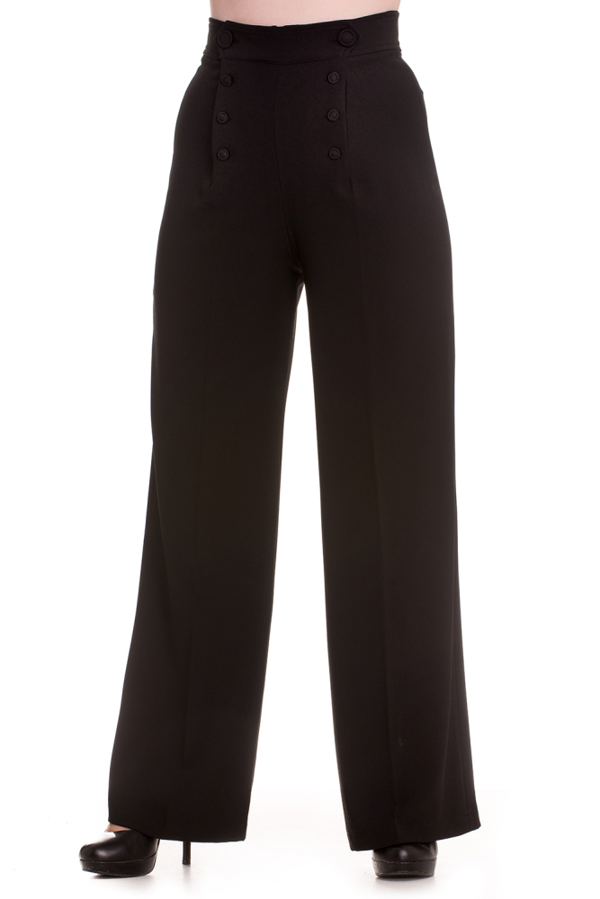 Hell Bunny Nelly Bly Swing Trousers in Black