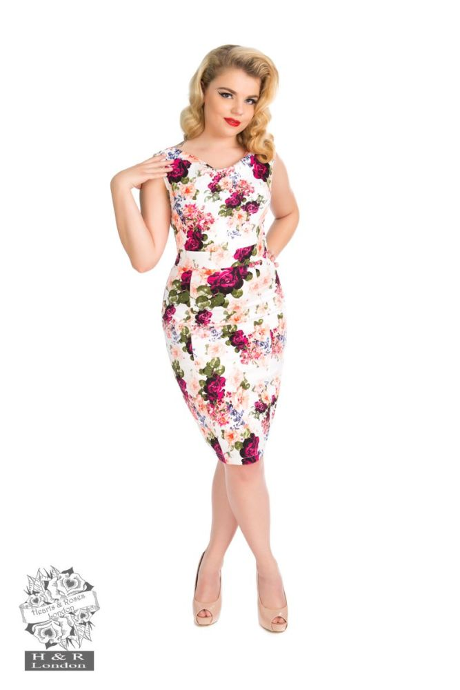 Hearts & Roses Vintage Rose Wiggle Dress