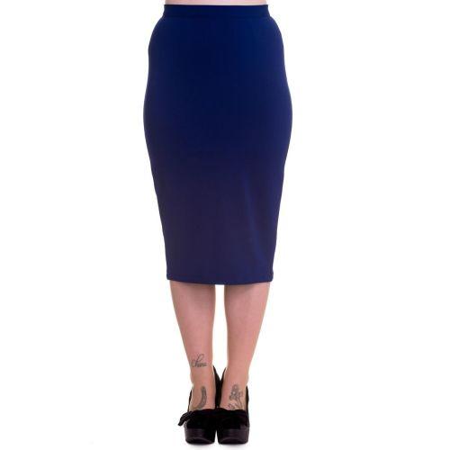 Hell Bunny Joni Pencil Skirt in Navy Blue