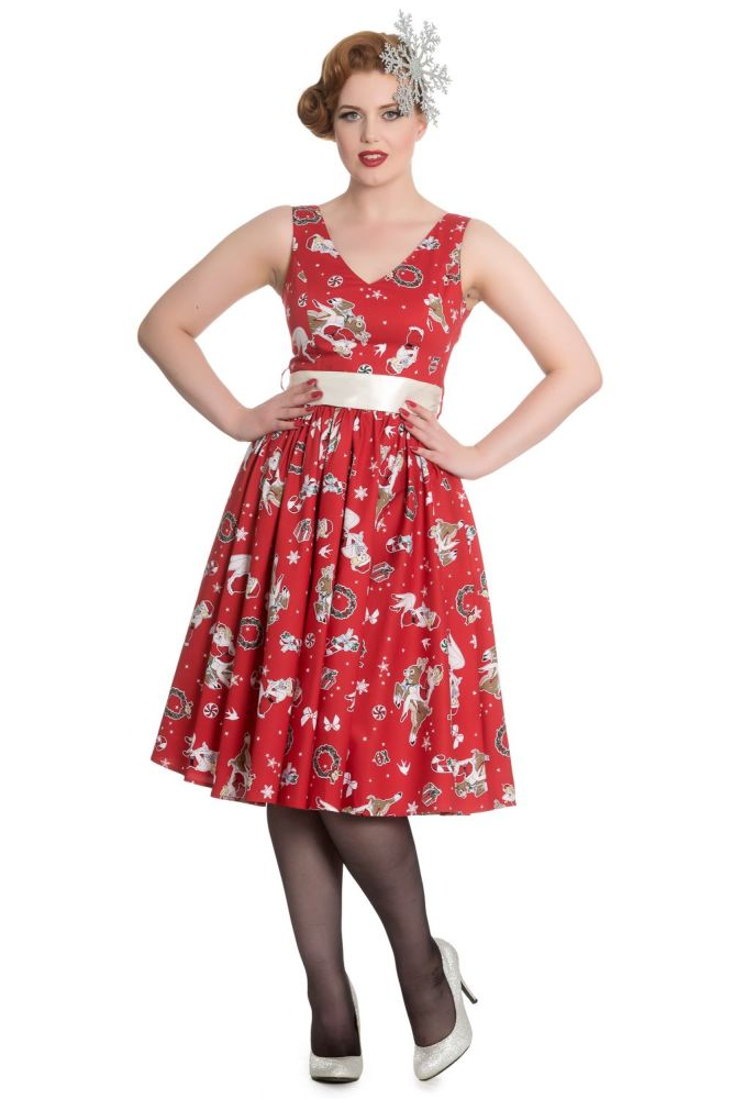 Hell Bunny Blitzen 50's Dress in Red