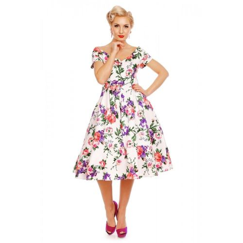Dolly & Dotty Lily White Floral Swing Dress