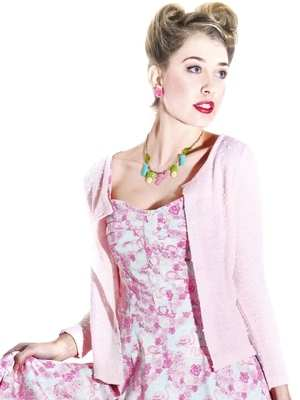 Collectif Vicky Boucle Cardigan in Baby Pink