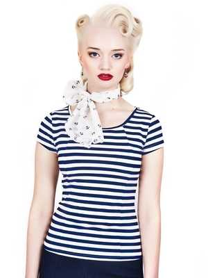 Collectif Alice T-Shirt in Navy Stripe