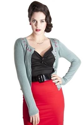 Collectif Jo Cardigan in Antique Green with Cherry Embroidery