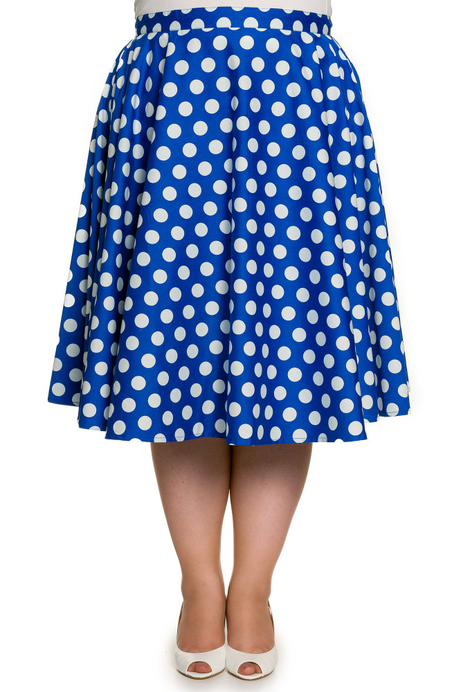 Hell Bunny Blue Polka Dot 50's Swing Skirt