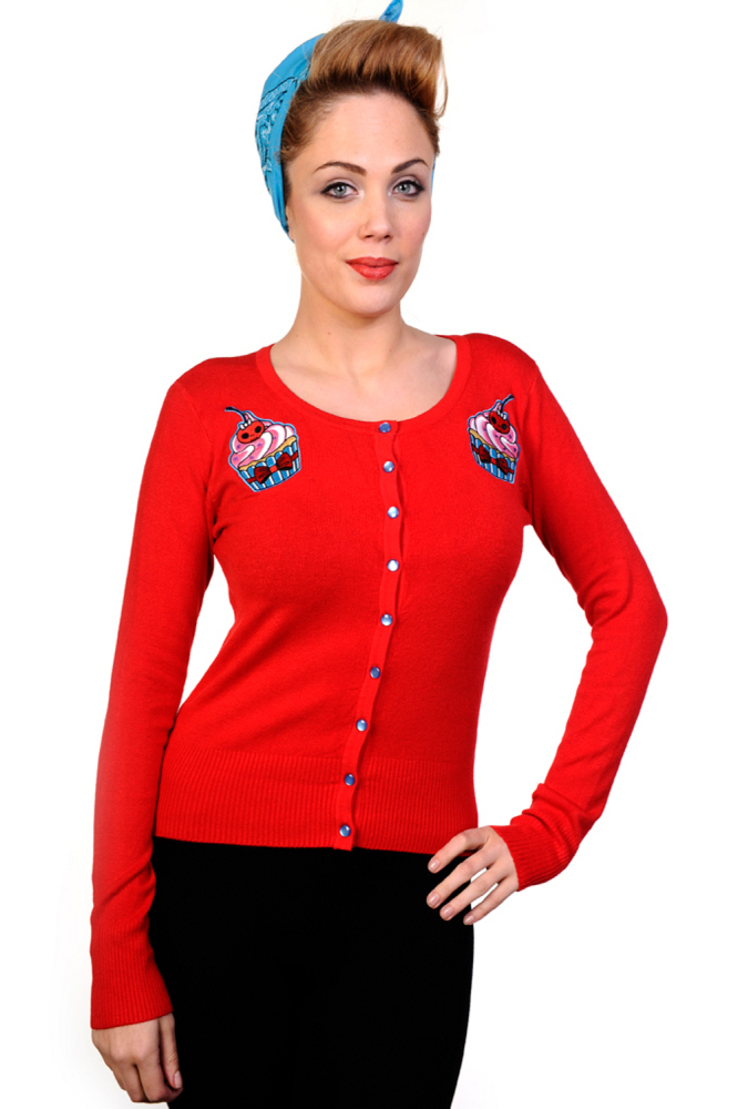 Banned Cup Cake Cardigan in Red