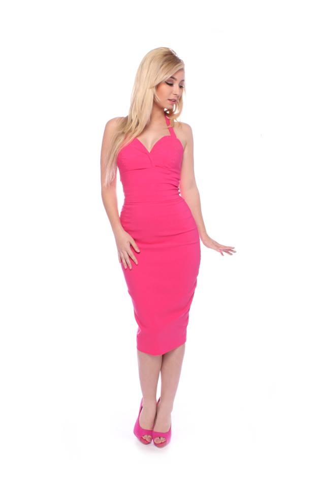 Gerry Roxby Jayne Dress in Hot Pink