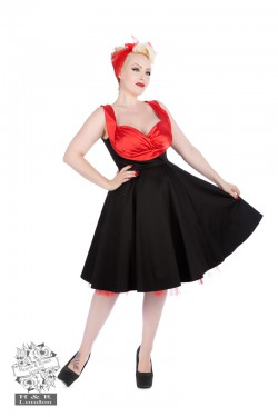 Hearts & Roses Red Satin Ruched Swing Dress