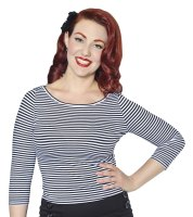 Collectif Martina Boat Neck T-Shirt in Navy Stripe