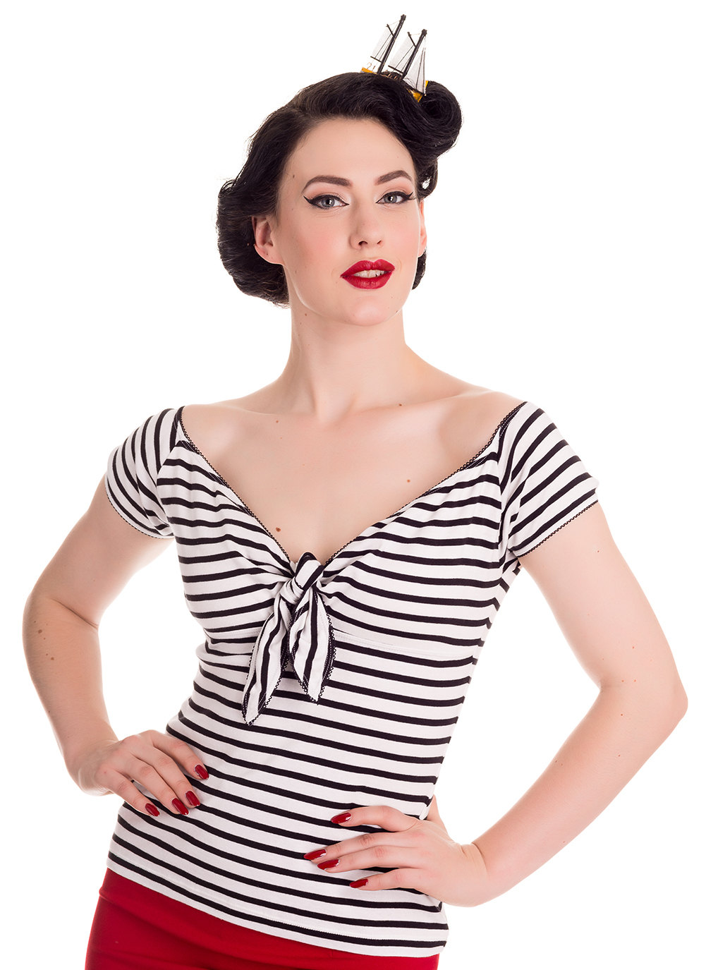 Hell Bunny Dolly Top in Black Stripe