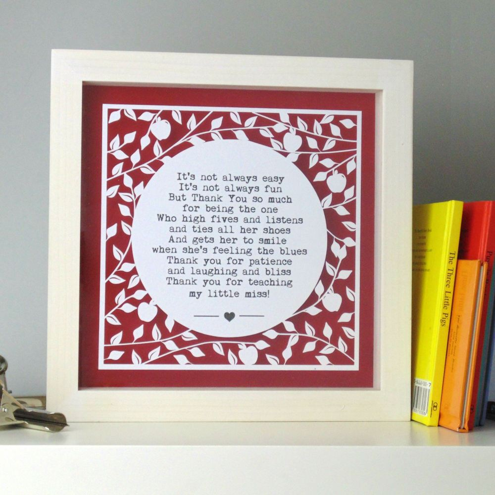 Apple Tree Teacher Papercut - Your Choice Of Words