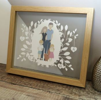 Family Illustration Portrait Papercut