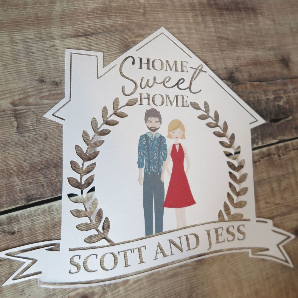 Personalised Couple Portrait Papercut (Home Sweet Home)