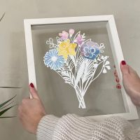 Family Bouquet Papercut - Personalised Birth Month Flowers