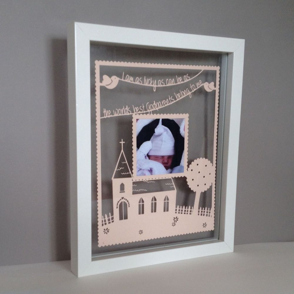 Personalised Church Photo Papercut (Godparents, Chrsitenings, Weddings)