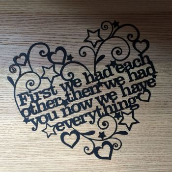 First We Had Each Other Papercut Quote