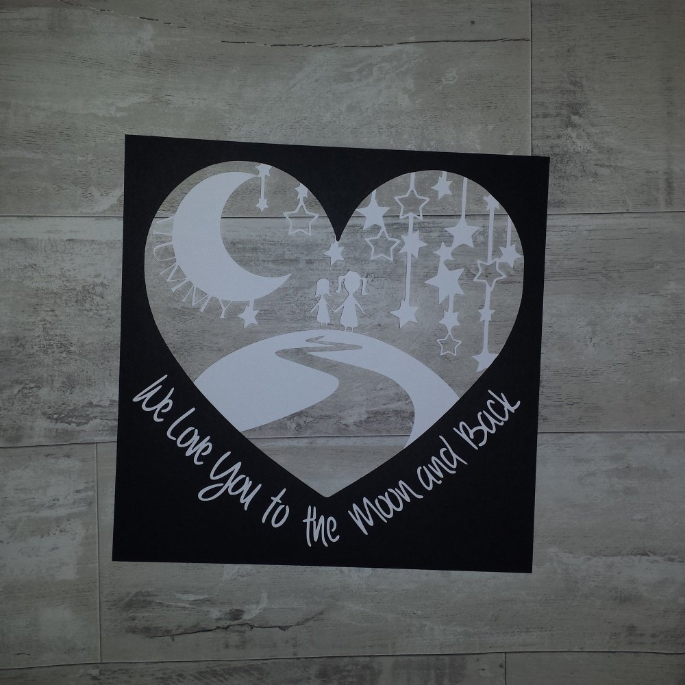 Love You to the Moon and Back Papercut Heart