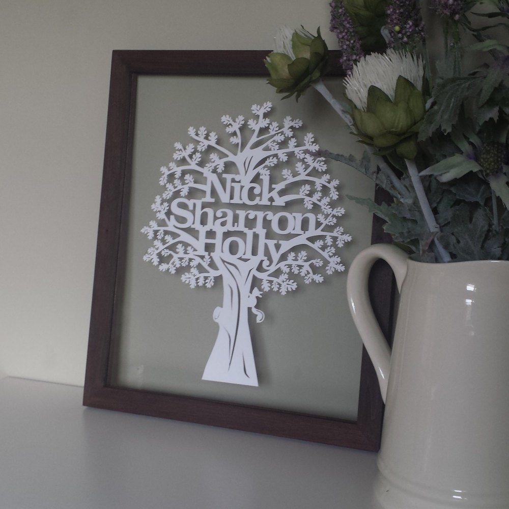 Typograpgy Family Tree Papercut