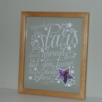 Friends are like stars Papercut Frame
