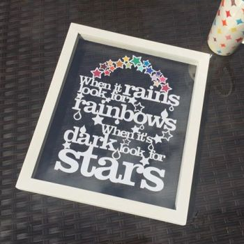 When It Rains Look For Rainbows Papercut Quote