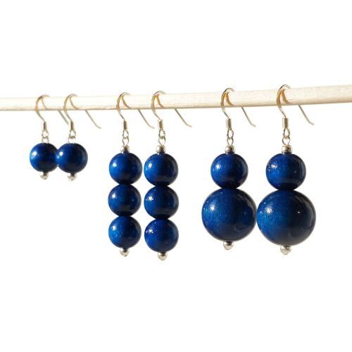 Navy Blue Dangle Earrings