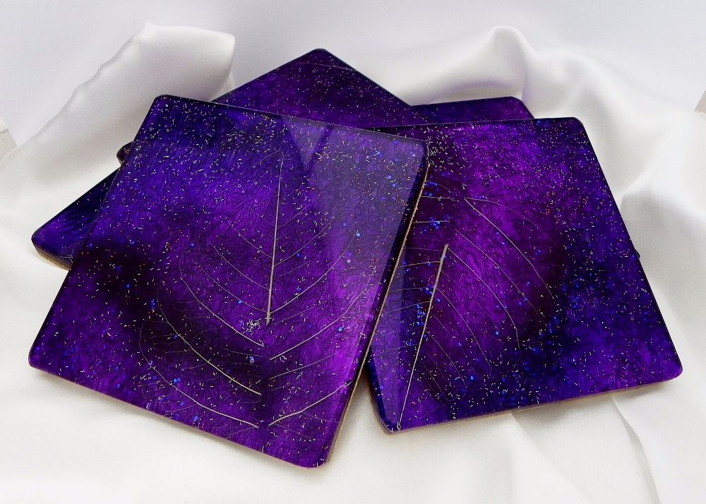 Purple skeleton leaf coasters