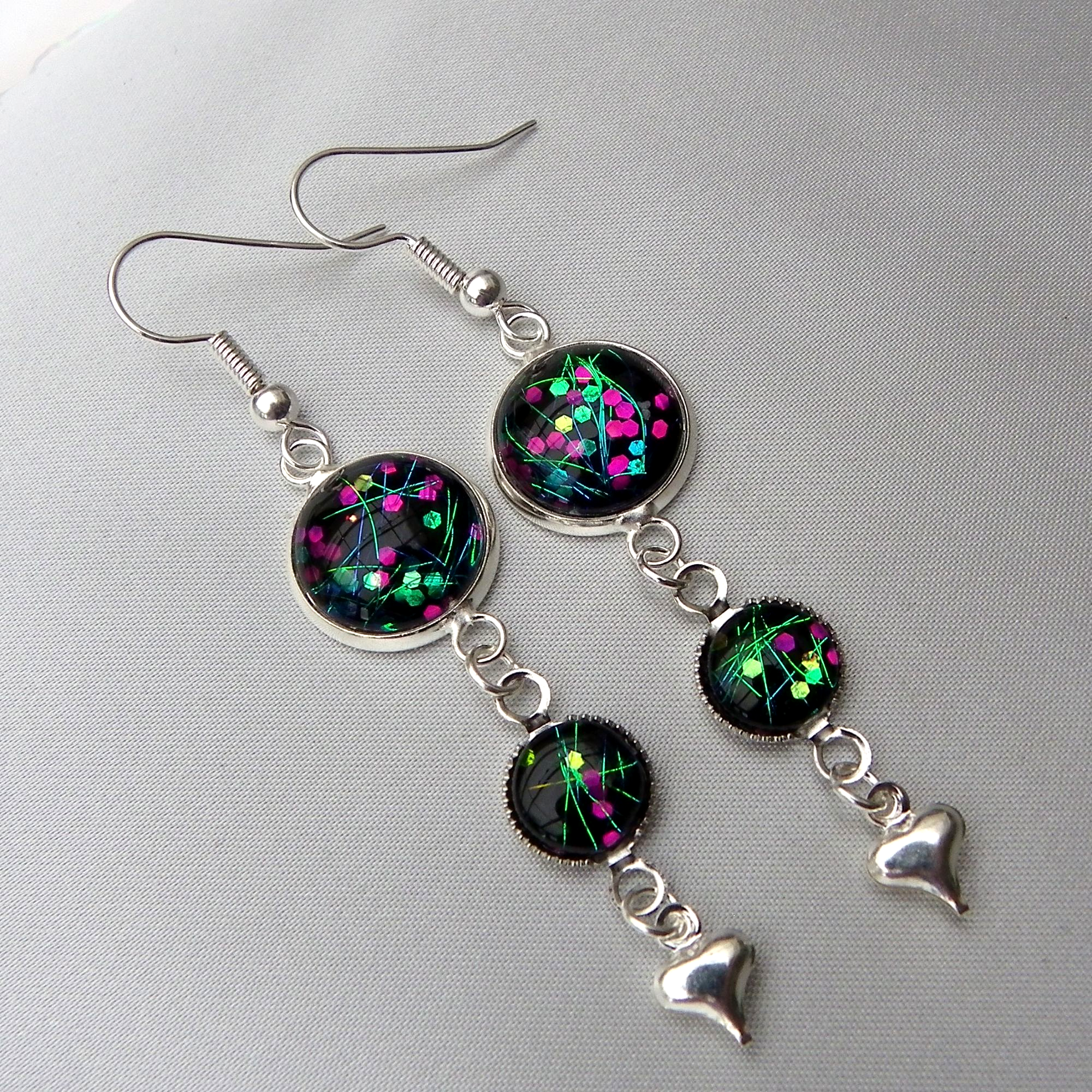 sparkly black dangly earrings