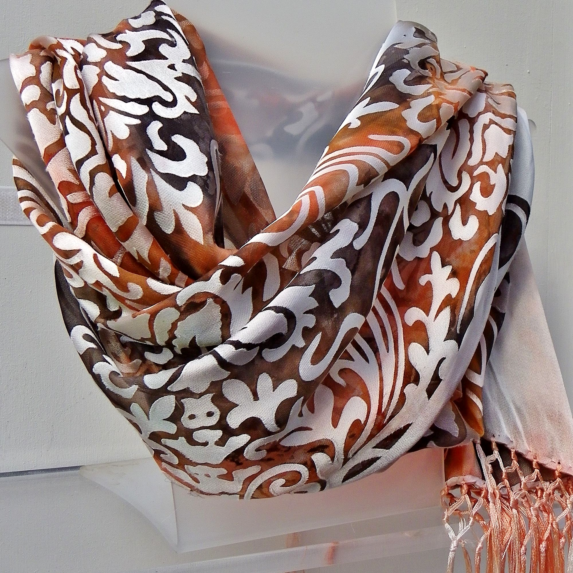 Rich brown burnout  satin silk scarf