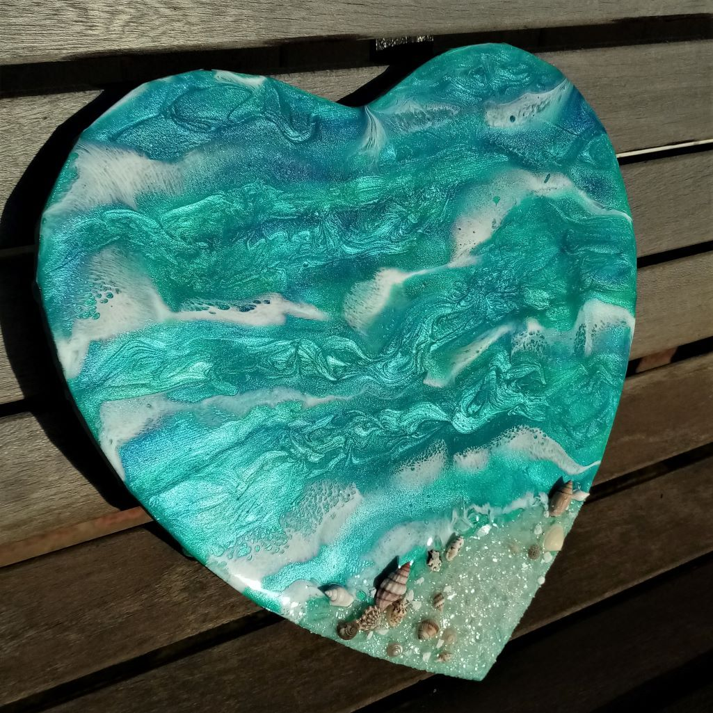Tropical resin beach heart