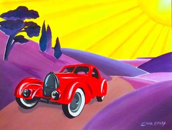 Art Deco Red Car