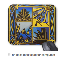 art deco blue mouse pad