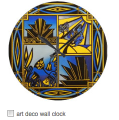 art deco blue wall clock