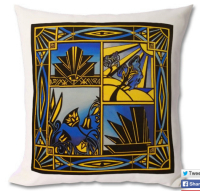art deco blue cushion