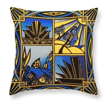 Art Deco In Blue Cushion1