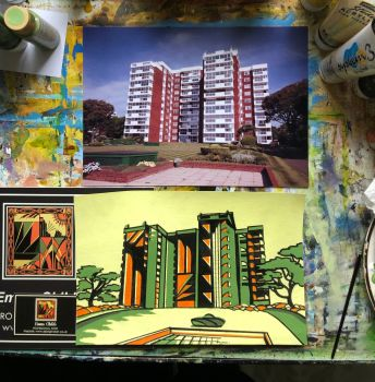 Art Deco sketchx3 Turning Hinton Wood into Deco style